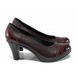 Анатомични български дамски обувки от естествена кожа НЛ 140-6843 бордо кроко | Дамски обувки на висок ток