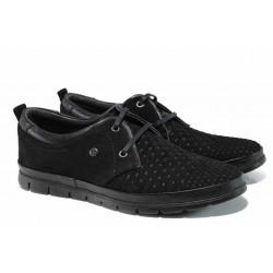 Анатомични мъжки обувки от естествен набук МИ 10-3 черен | Мъжки ежедневни обувки