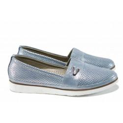 Анатомични дамски обувки от естествена кожа МИ 269 син | Равни дамски обувки