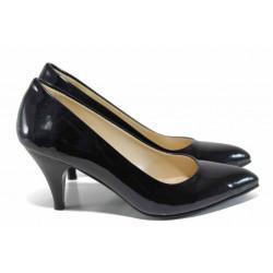 Дамски елегантни обувки МИ 117 черен лак | Дамски обувки на висок ток