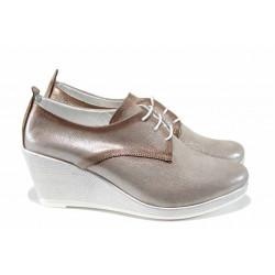 Анатомични дамски обувки от естествена кожа МИ 555-12 бежов | Дамски обувки на платформа