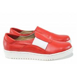 Анатомични български обувки от естествена кожа НЛ 201-1608 червен | Равни дамски обувки