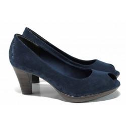 Елегантни дамски обувки Marco Tozzi 2-29302-20 син металик | Немски обувки на ток