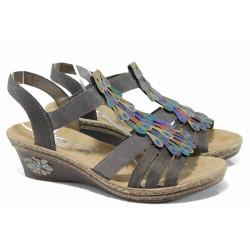 Дамски сандали на платформа Rieker V2426-45 сив ANTISTRESS | Немски сандали на ток