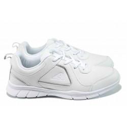 Дамски маратонки с връзки АБ 17001 бял | Дамски маратонки и платненки