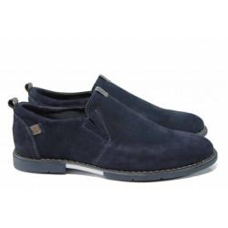 Анатомични български обувки от естествен набук МЙ 83335 син | Мъжки ежедневни обувки