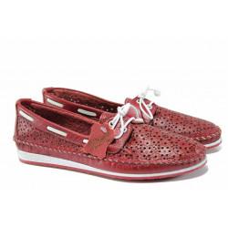 Анатомични дамски мокасини от естествена кожа МИ 301 червен | Равни дамски обувки