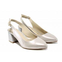 Елегантни дамски обувки на комфортно ходило МИ 798-8 бежов-сребро | Дамски обувки на среден ток