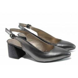 Елегантни дамски обувки на комфортно ходило МИ 798-7 графит| Дамски обувки на среден ток
