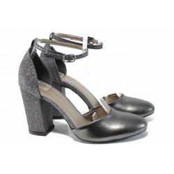 Елегантни дамски обувки на комфортно ходило МИ 596-7 т.сив | Дамски обувки на висок ток
