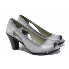 65e8827c253 Дамски обувки от естествена кожа на еластично ходило МИ 573 св.сив | Дамски  обувки