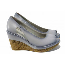 Дамски обувки от естествена кожа МИ 0573 св.сив   Дамски обувки на платформа