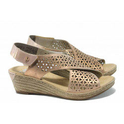 Дамски сандали от естествена кожа Rieker 62484-31 розов ANTISTRESS | Немски сандали на платформа