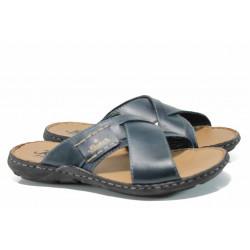 Мъжки чехли от естествена кожа Rieker 22099-14 син ANTISTRESS | Немски мъжки обувки