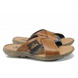 Мъжки чехли от естествена кожа Rieker 22099-25 кафяв ANTISTRESS | Немски мъжки обувки