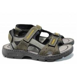 Мъжки сандали на комфортно ходило Rieker 26157-54 зелен ANTISTRESS | Немски мъжки обувки