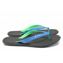 Анатомични мъжки чехли между пръстите Rider 10594 черен-син   Бразилски чехли