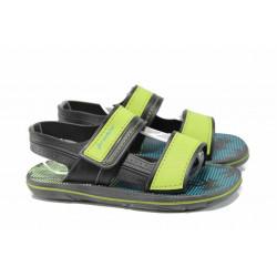 Анатомични детски сандали с лепенки Ipanema 82196 черен-зелен 27/38 | Бразилски чехли и сандали