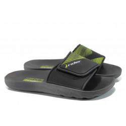 Анатомични мъжки чехли с велкро лепенка Rider 82326 черен-зелен | Бразилски чехли