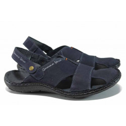 Български ортопедични чехли-сандали от естествен набук МЙ 71190 син | Мъжки чехли и сандали