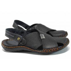 Български ортопедични чехли-сандали от естествена кожа МЙ 71173 черен   Мъжки чехли и сандали