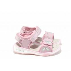 Анатомични детски сандали с LED светлина АБ 1367 розов 26/30 | Детски чехли и сандали