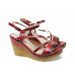 Комфортни дамски сандали от естествена кожа МИ 0120 червен   Дамски сандали на платформа