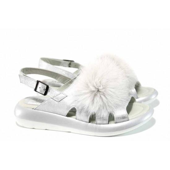 Модерни дамски сандали от естествена кожа МИ 871 сребро | Равни дамски сандали