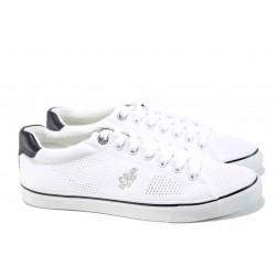 Мъжки спортни обувки с мемори пяна S.Oliver 5-13638-20 бял | Мъжки немски обувки с перфорация