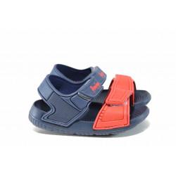 Детски сандали с лепенки АБ 6631 син-червен 24/29 | Детски гумени сандали