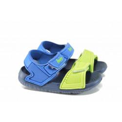 Детски сандали с лепенки АБ 6631 син-зелен 24/29 | Детски гумени сандали