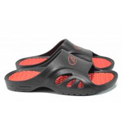 Анатомични мъжки джапанки с цяла лента АБ 8503 черен-червен | Мъжки гумени чехли