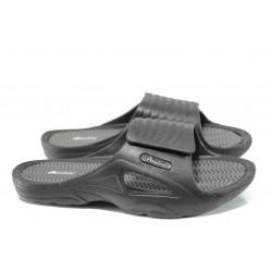 Мъжки джапанки с велкро закопчаване АБ 8396 черен | Мъжки гумени чехли