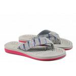 Дамски джапанки с лента между пръстите АБ 707019 сив | Дамски гумени чехли
