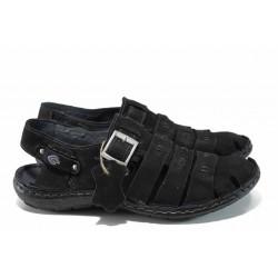 Български ортопедични мъжки сандали от естествен набук МЙ 71175 черен | Мъжки чехли и сандали