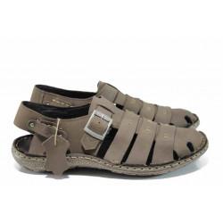 Български ортопедични мъжки сандали от естествен набук МЙ 71175 таупе | Мъжки чехли и сандали