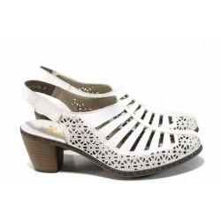 Дамски обувки от естествена кожа Rieker 40959-80 бял ANTISTRESS | Немски обувки на ток