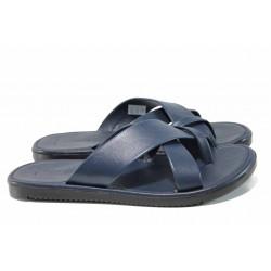 Мъжки чехли от естествена кожа с лента между пръстите МИ 399 син | Мъжки чехли и сандали
