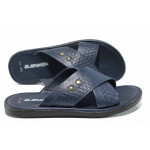 Мъжки чехли от естествена кожа на комфортно ходило МИ G-14 син | Мъжки чехли и сандали