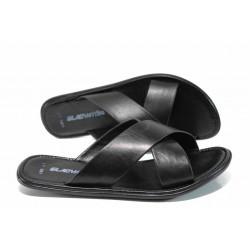 Мъжки чехли от естествена кожа МИ 400 черен | Мъжки чехли и сандали