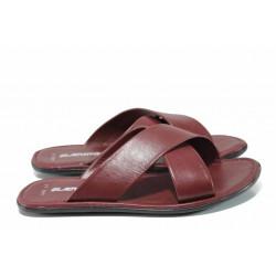 Мъжки чехли от естествена кожа МИ 400 бордо | Мъжки чехли и сандали