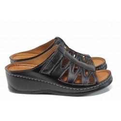 Дамски ортопедични чехли изцяло от естествена кожа КА 176-501 черен | Дамски чехли на платформа