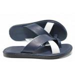 Мъжки чехли от естествена кожа с лента между пръстите МИ 399 син-бял | Мъжки чехли и сандали