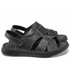 Анатомични мъжки чехли-сандали от естествена кожа МИ 1765 черен | Мъжки чехли и сандали