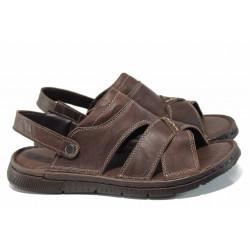 Анатомични мъжки чехли-сандали от естествена кожа МИ 1765 кафяв | Мъжки чехли и сандали