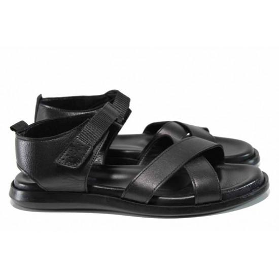 Анатомични мъжки сандали от естествена кожа МИ 594 черен | Мъжки чехли и сандали
