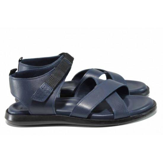 Анатомични мъжки сандали от естествена кожа МИ 594 син | Мъжки чехли и сандали