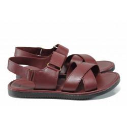 Мъжки сандали от естествена кожа МИ 831 бордо | Мъжки чехли и сандали