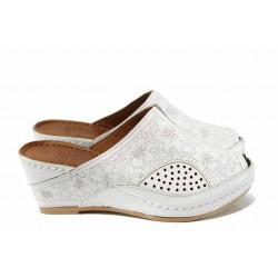 Дамски ортопедични чехли /тип сабо/ от естествена кожа КА 1509-2500 бял | Дамски чехли на платформа