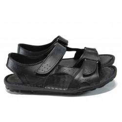 Мъжки сандали на комфортно ходило МИ 088 черен | Мъжки чехли и сандали
